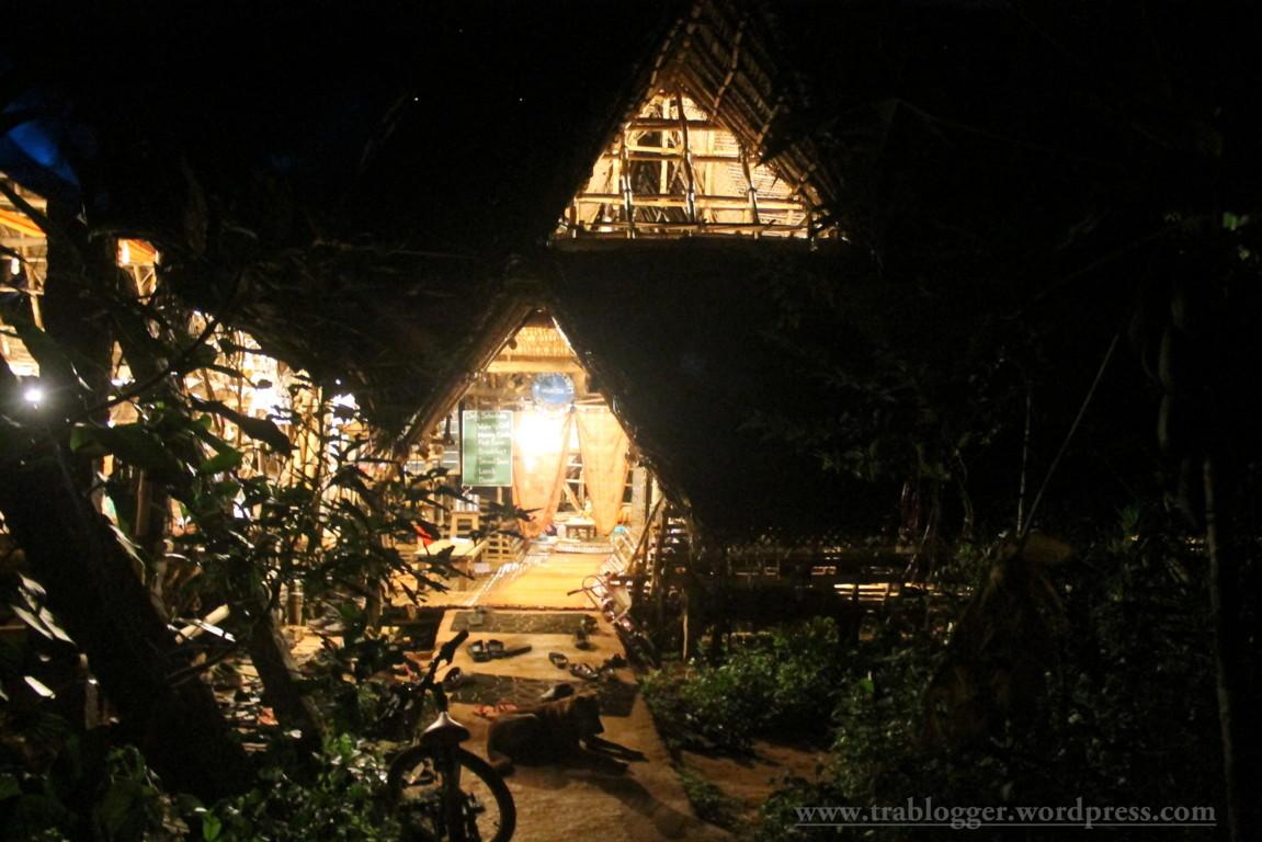 Main hut at night time