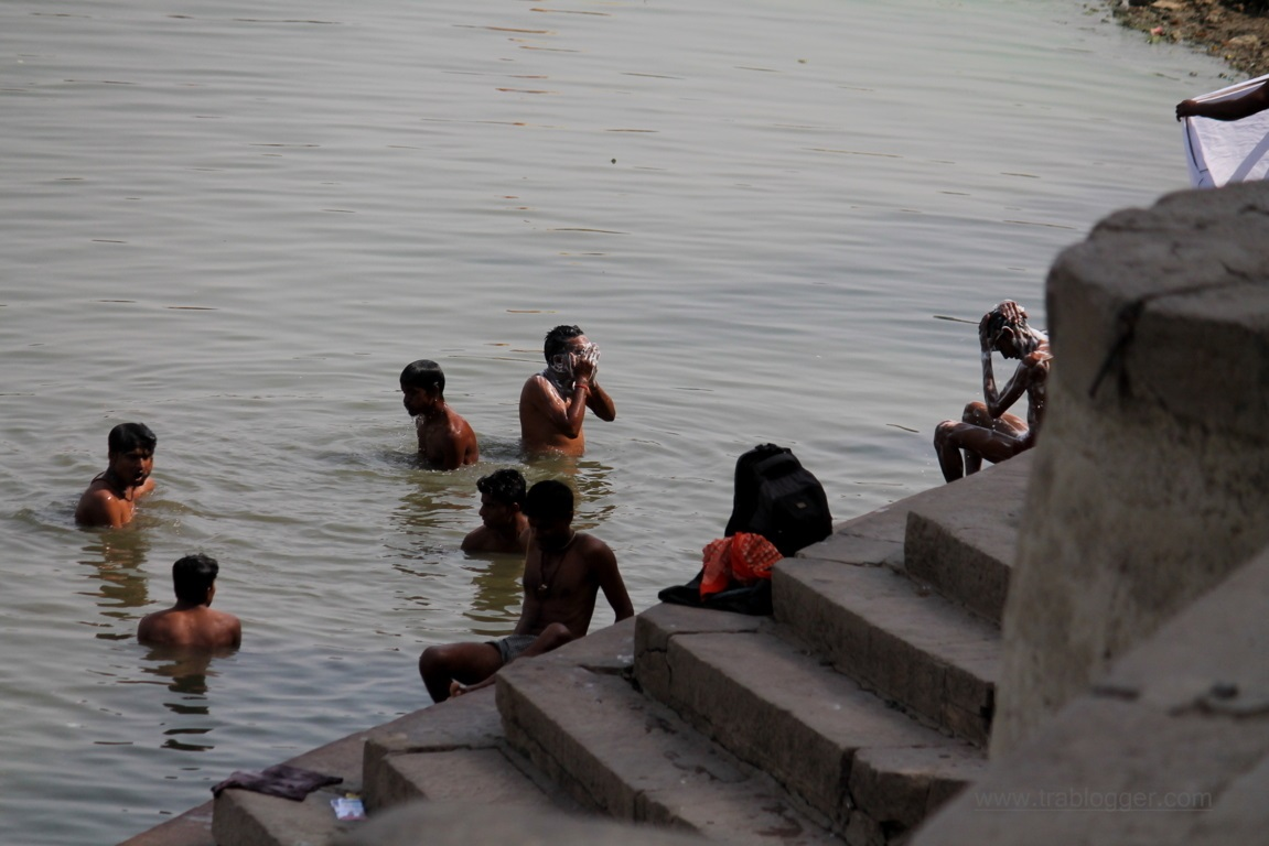A group of men bathing at Varanasi
