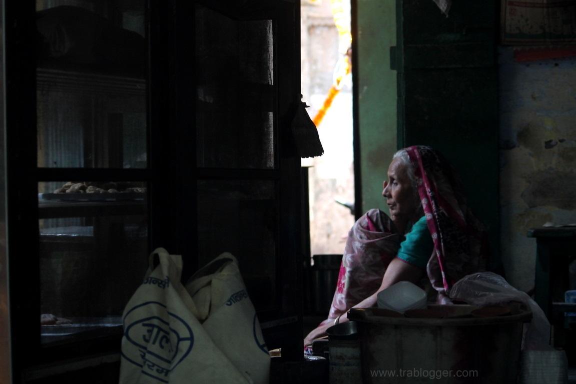 An Old Lady shopkeeper at Varanasi