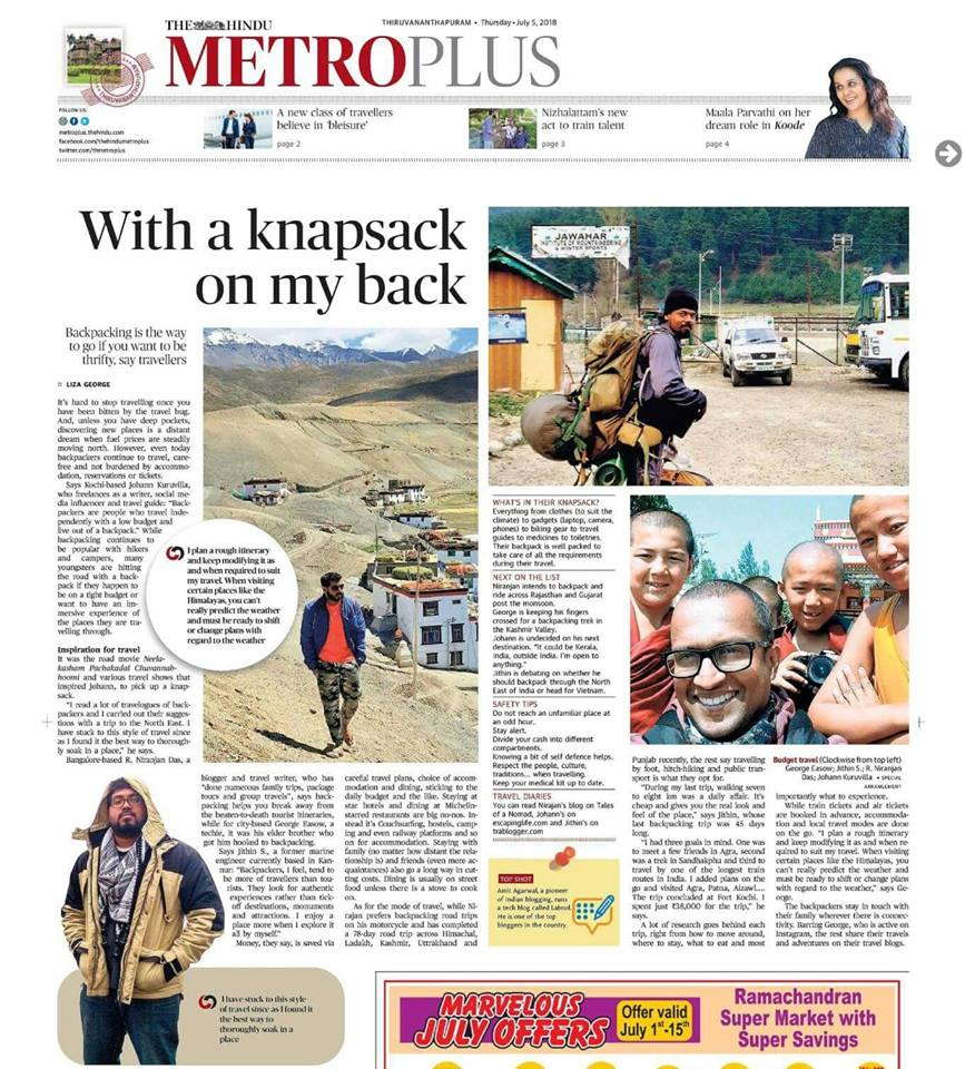 trablogger the hindu feature backpacker india