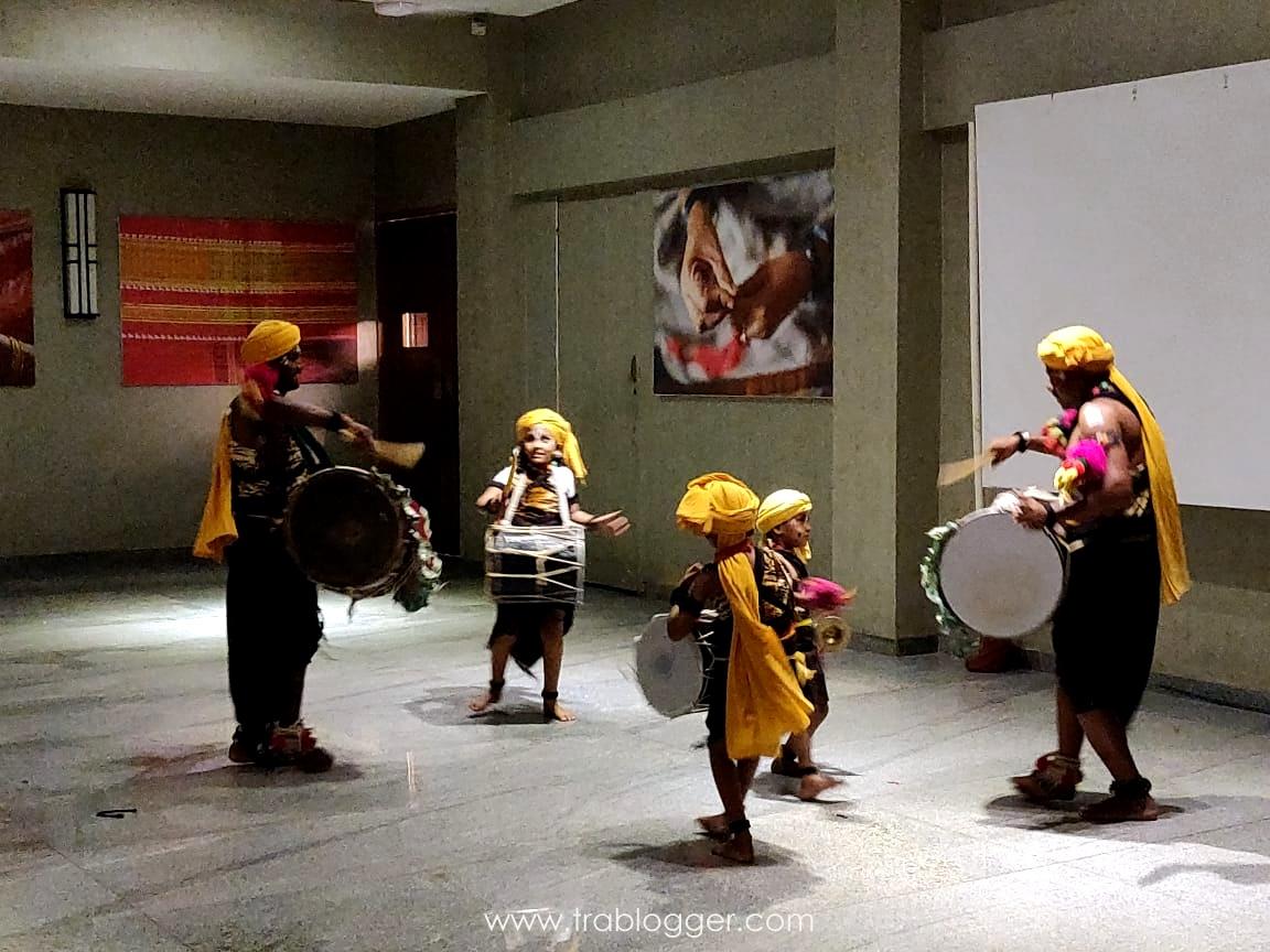Local artists perfoming Dollu Kunita at Heritage resort Hampi