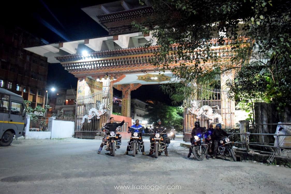 Bhutan gate at night