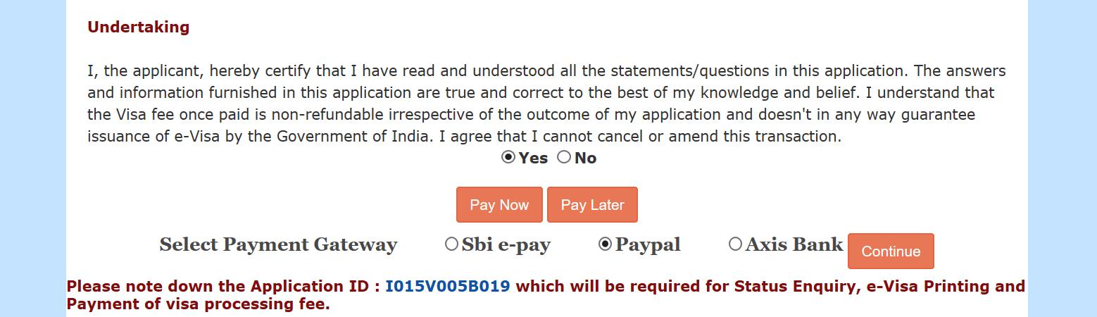 indian e visa payment