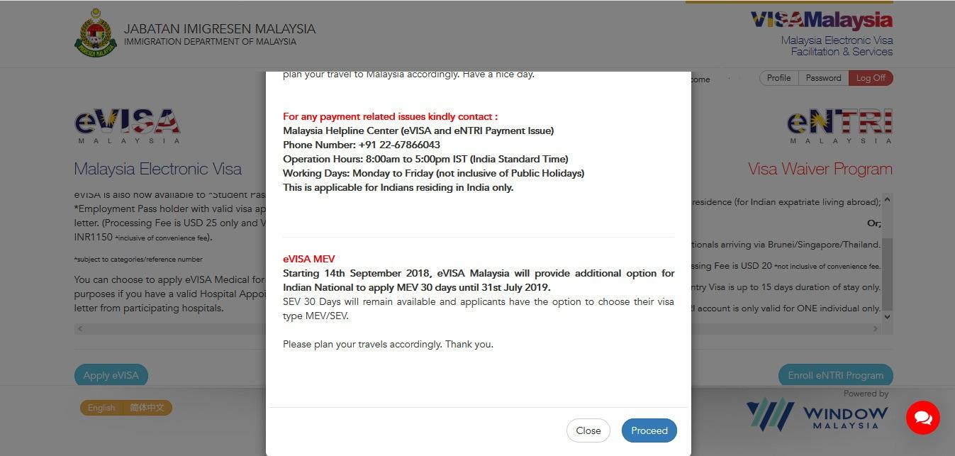 malaysian visa proceed