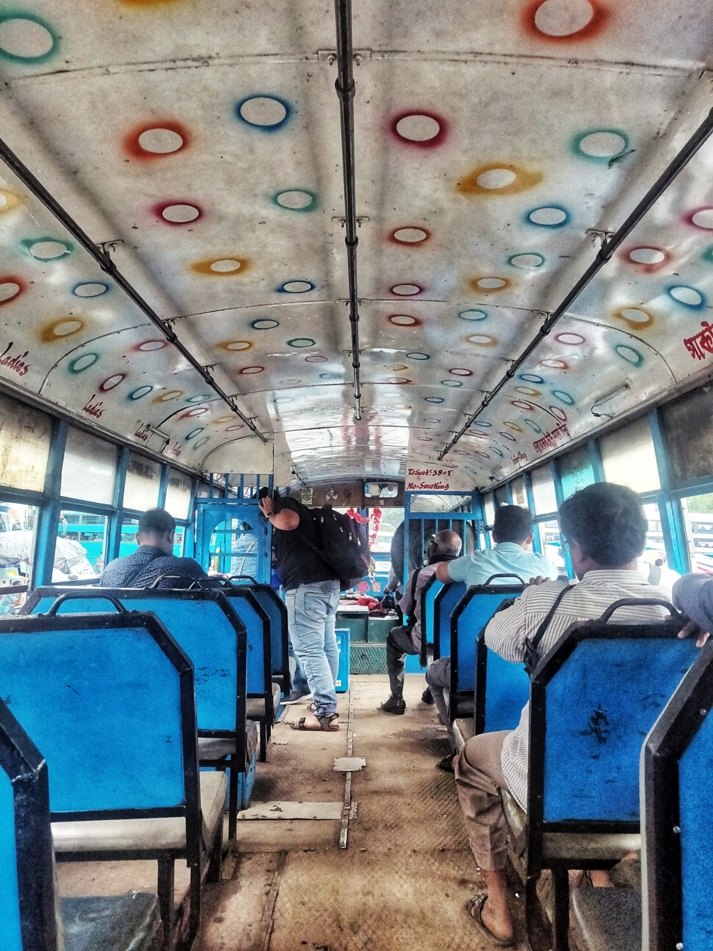 Trabloggers  kolkata street photography inside the bus